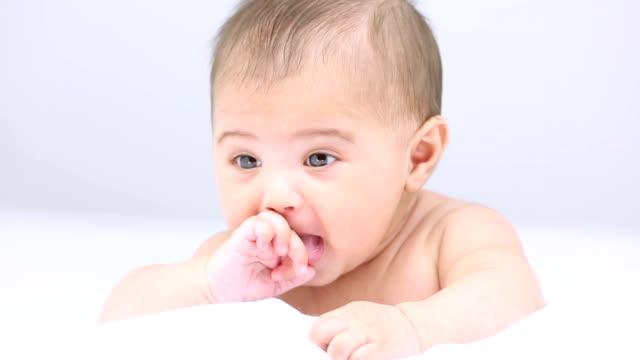 Baby boy playing at home, Delhi, India