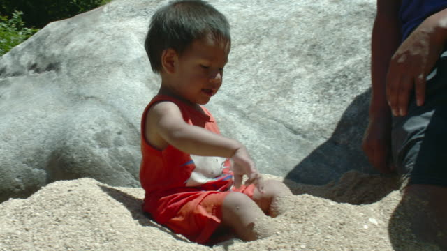 cu baby boy (18-23 months) playing in sand / yelapa, jalisco, mexico - 18 23 months stock videos & royalty-free footage