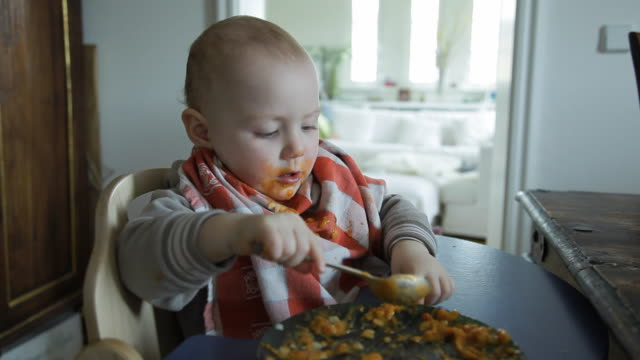 MS Baby boy (12-17 months) playing with spoon in meal, Potsdam, Brandenburg, Germany