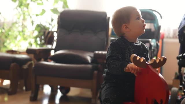 vídeos y material grabado en eventos de stock de bebé niño montar a caballo - madera material
