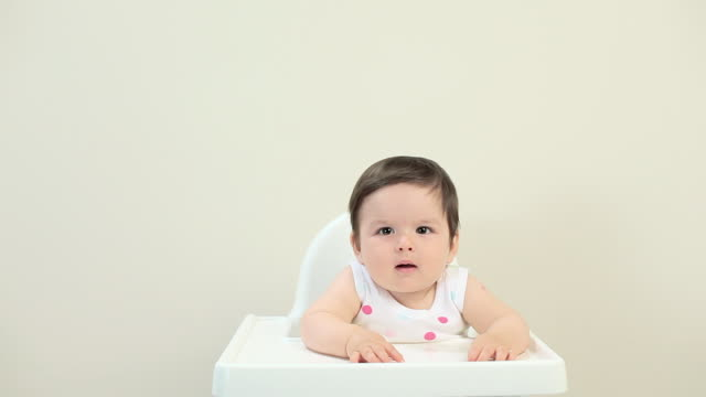 baby boy sitting in highchair - one baby boy only stock videos & royalty-free footage