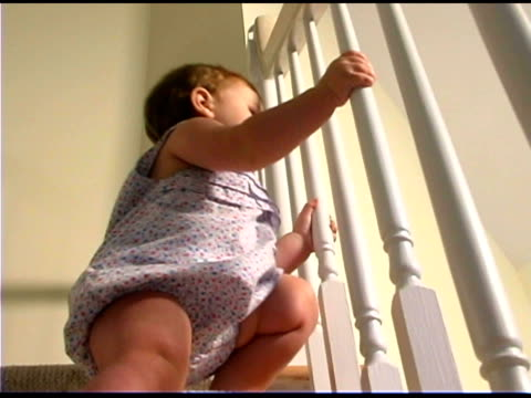 baby climbing steps - only baby girls stock videos & royalty-free footage