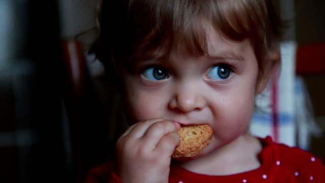 baby eating cookie - biscuit stock videos & royalty-free footage