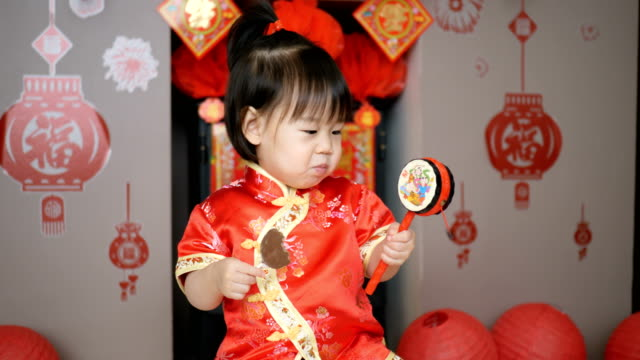baby girl celebrating Chinese new year at home