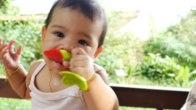 baby flicka tugga leksak - endast en flickbaby bildbanksvideor och videomaterial från bakom kulisserna