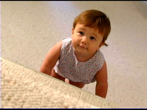 baby girl climbing steps - only baby girls stock videos & royalty-free footage