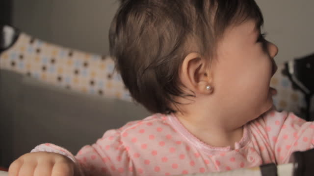 cu baby girl (6-11 months) crying in playpen / miami, florida, usa - 6 11 months stock videos & royalty-free footage