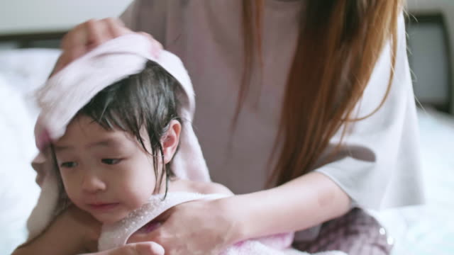 CU : Baby Girl Having A Bath