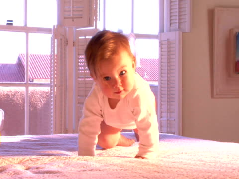 ms, baby girl (6-9 months) learning to crawl on bed - 6 11 månader bildbanksvideor och videomaterial från bakom kulisserna