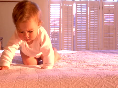 ms, pan, baby girl (6-9 months) learning to crawl on bed - 6 11 månader bildbanksvideor och videomaterial från bakom kulisserna