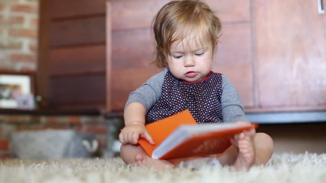 a baby girl looking at a book inside of her home. - one baby girl only stock videos & royalty-free footage
