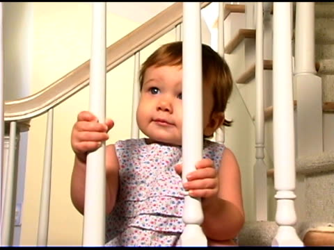 baby girl on steps - only baby girls stock videos & royalty-free footage