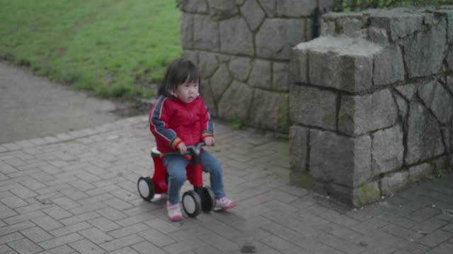 baby girl play bicycle at outdoor park - baby girls stock videos & royalty-free footage