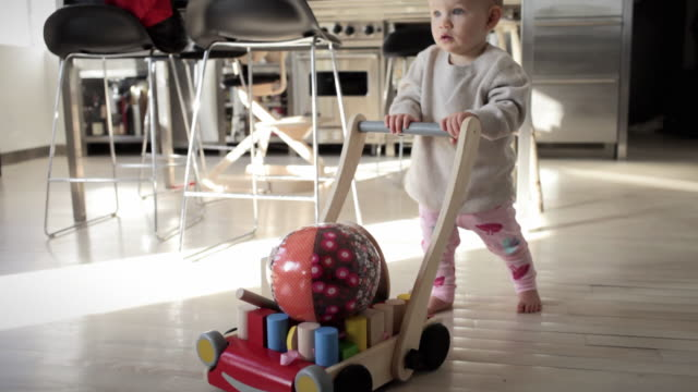 MS FOCUSING Baby girl (6-11 months) pushing cart full of toys in kitchen / New York City, New York, USA
