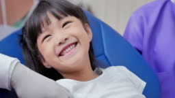 Baby girl smiling and check up and dental exam at dentist.Cute little girl sitting on dental chair and having dental treatment.Medicine, Stomatology and health care concept.Dental Check-up,Technology,People concept.
