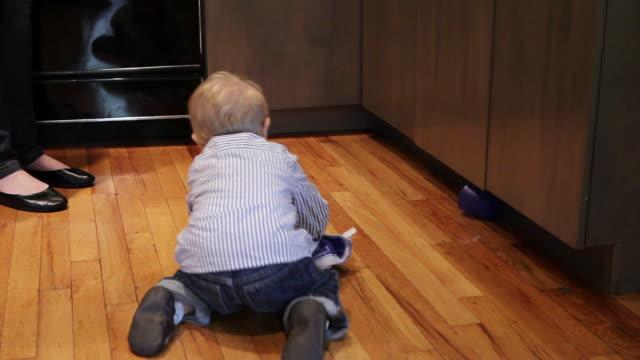 ms baby having fun wiping kitchen floor / montreal, quebec, canada - straccio video stock e b–roll