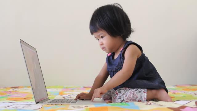 hd:  baby spielt mit einem laptop - menschlicher finger stock-videos und b-roll-filmmaterial