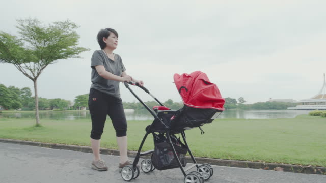 baby; mother walking and pushes baby boys in stroller. - carriage stock videos & royalty-free footage