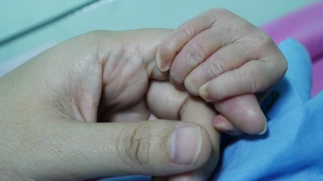 生まれたばかりの赤ちゃんを持つ母の指、4 k 解像度 (uhd - differential focus点の映像素材/bロール