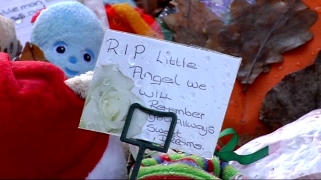 mother apologises in letter to court ahead of sentencing R12030924 Finchley Various of floral tributes cuddly toys and messages at site where ashes...