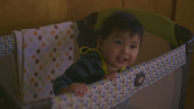 cu tu td baby playing in crib / los angeles, california, united states - one baby boy only stock videos & royalty-free footage