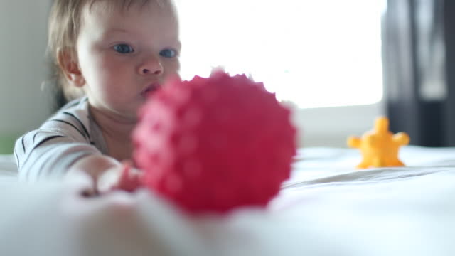 a baby playing with balls and toys inside of her home. - one baby girl only stock videos & royalty-free footage