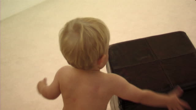 baby playing with footstool - one baby boy only stock videos & royalty-free footage