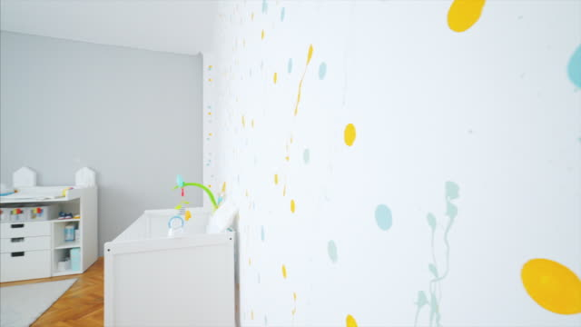 baby room interior - cot stock videos & royalty-free footage