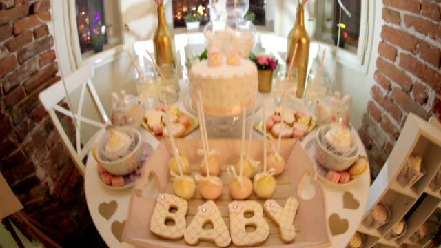 baby shower sweets - baby shower video stock e b–roll