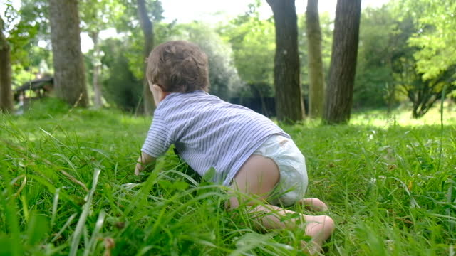 baby sitting crawling on green grass and smiling broadly. - crawling stock videos & royalty-free footage