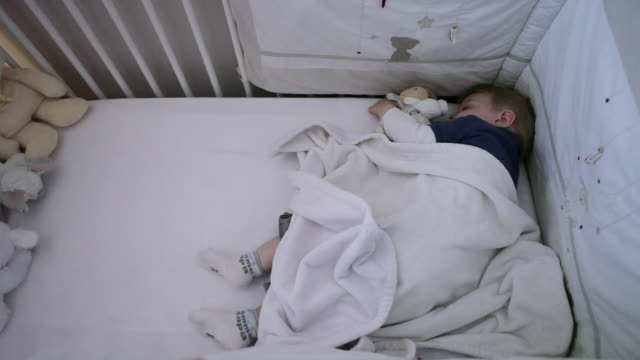 ms pan baby sleeping in his bed / montreal, quebec, canada - babies only stock videos & royalty-free footage
