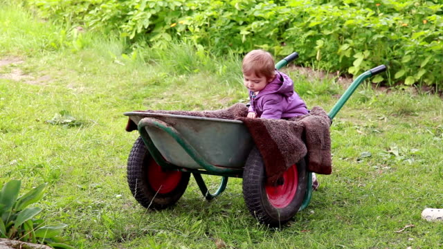 baby taking out a ball from the wheelbarrow - adult imitation stock videos and b-roll footage