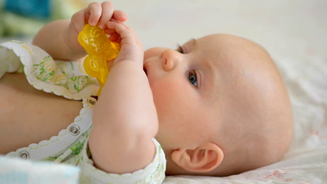 baby teething problem - chewing stock videos & royalty-free footage