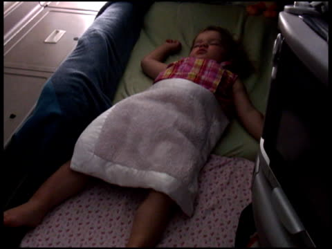 baby / toddler asleep in first class seat - air vehicle stock videos & royalty-free footage