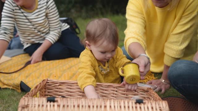 vidéos et rushes de baby unpacking picnic hamper - panier pique nique