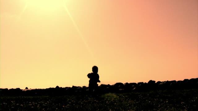 baby walk silhouette  (hd) - endast en pojkbaby bildbanksvideor och videomaterial från bakom kulisserna