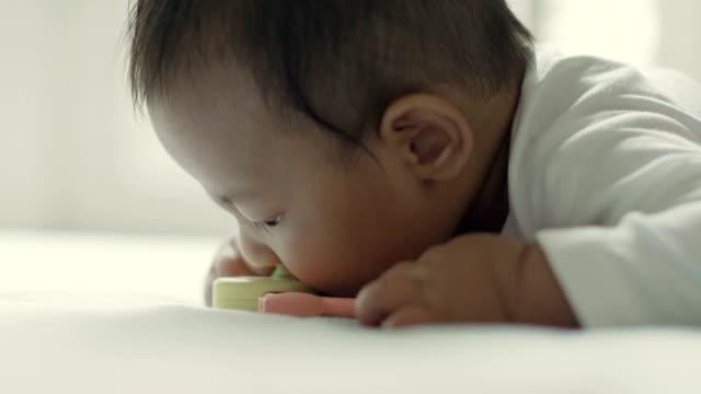 vídeos de stock, filmes e b-roll de bebê primeiro dentes - mastigar