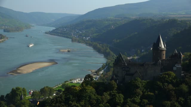 bacharach and stahleck castle, rhine river, rhineland-palatinate, germany, europe - circa 12th century stock videos & royalty-free footage