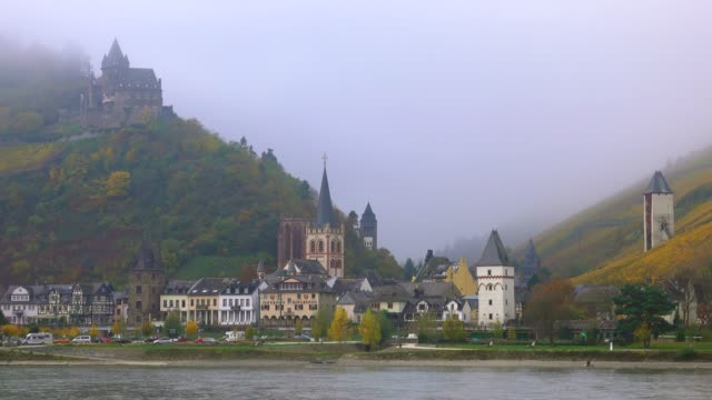 bacharach and stahleck castle, rhine river, rhineland-palatinate, germany, europe - circa 12th century stock videos and b-roll footage