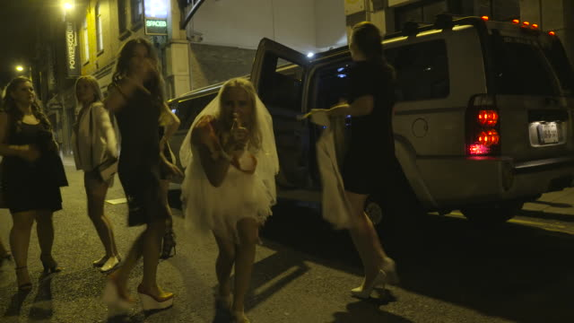 bachelorette party on the streets of dublin - limousine stock videos & royalty-free footage