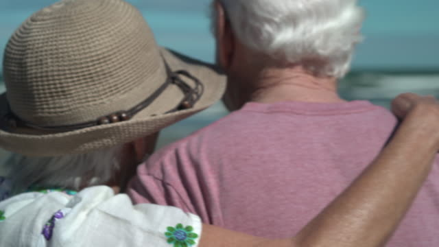 back detail view of elderly couple walking on the beach - hat stock videos & royalty-free footage