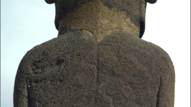 ECU TD Back of Ahu Nau Nau statue with petroglyphs / Anakena beach, Easter Island, Chile
