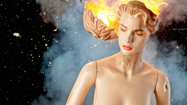 slo mo ld back of the head of a mannequin exploding and catching fire - mannequin stock videos & royalty-free footage