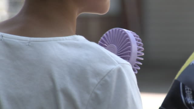 back of woman with handheld fan, niigata, japan - 社会問題点の映像素材/bロール