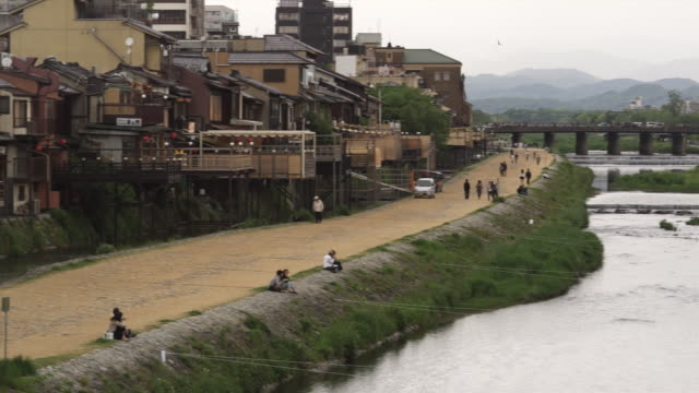 WS PAN Back part of Pontocho alley and Kamo River, Kyoto, Japan