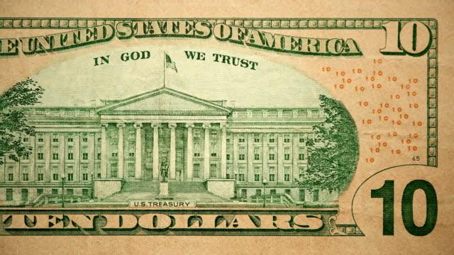 back side of $10 dollar bill currency of the united states of america - banconota da 10 dollari statunitensi video stock e b–roll
