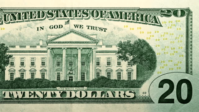back side of $20 dollar bill currency of the united states of america - savings stock videos & royalty-free footage