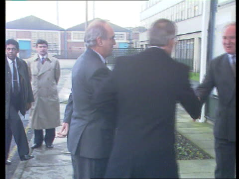 Peterborough John Major out of car PAN LR as walks and shakes hands with man TX 81093 ITN Blackpool INT TGV SIDE Tory conference in session CMS Tory...
