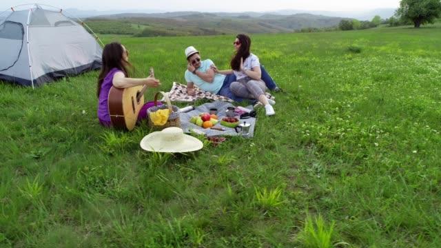 自然に戻る夏の時間、ピクニック時間、パーティーの時間。幸せな人々が微笑んで楽しんでいます。観光客は自然の中でキャンプ。ドローンによって晴れた日のビューで屋外の楽しみ。 - ピクニック点の映像素材/bロール