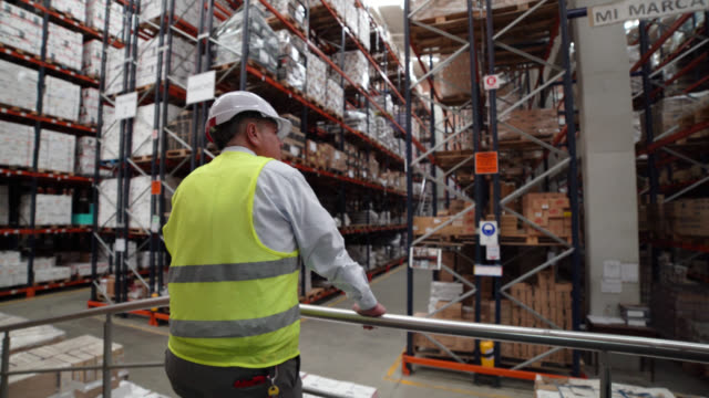 back view of business manager overseeing operations on platform at a distribution warehouse - world trade organisation stock videos & royalty-free footage